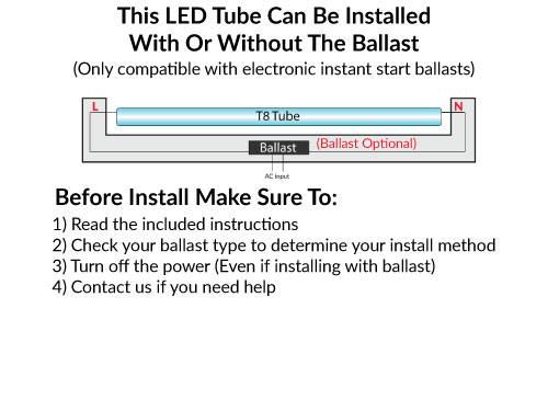 Plug and Play Universal Fit LED T8 4 FT Tubes, 5000K Daylight, 18 Watt, 1900 Lumens -  Works with electronic T8 ballasts or without ballasts (bypass), Frosted Lens