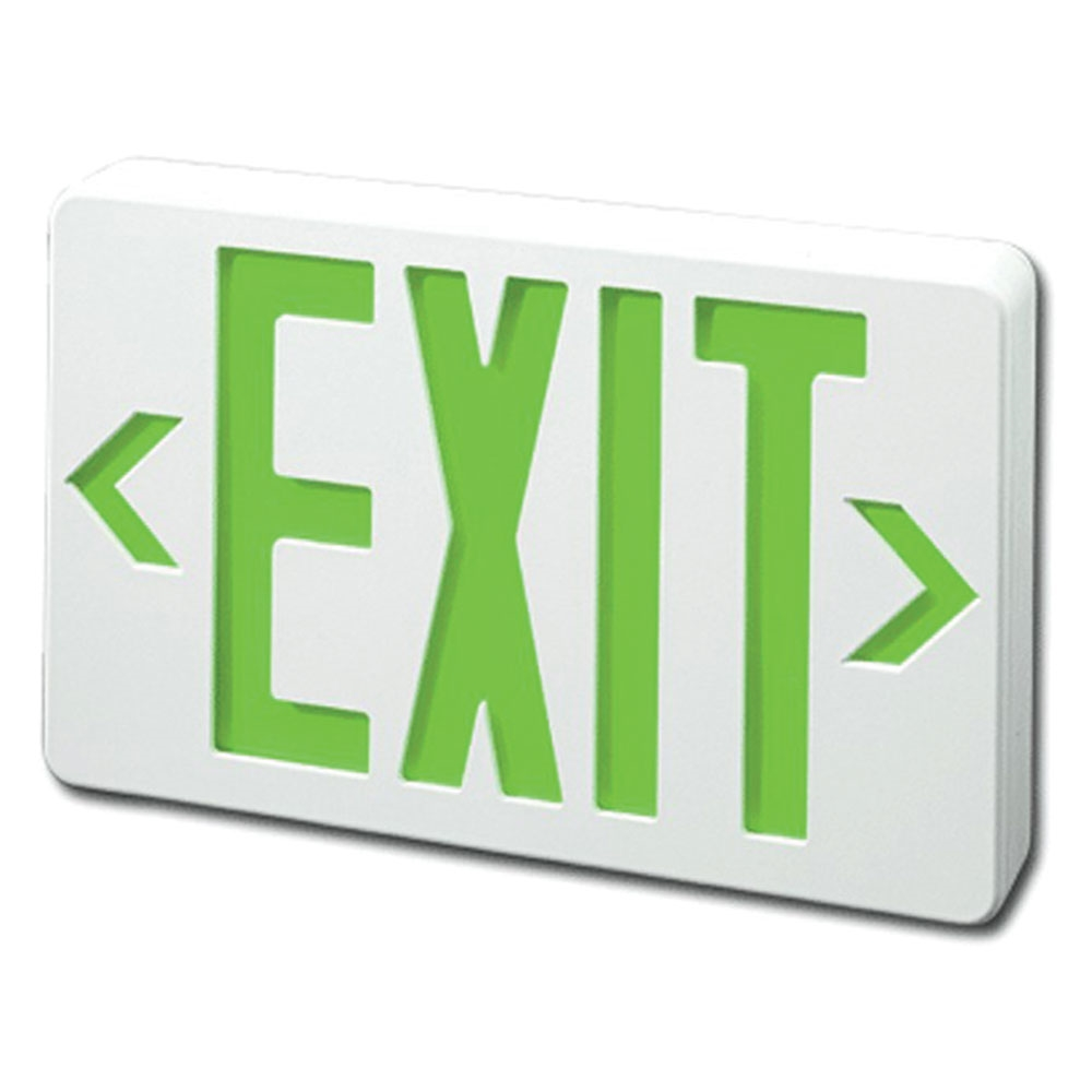 Smallest Compact LED Exit Sign White Housing and Green Letter With No Battery Back-Up