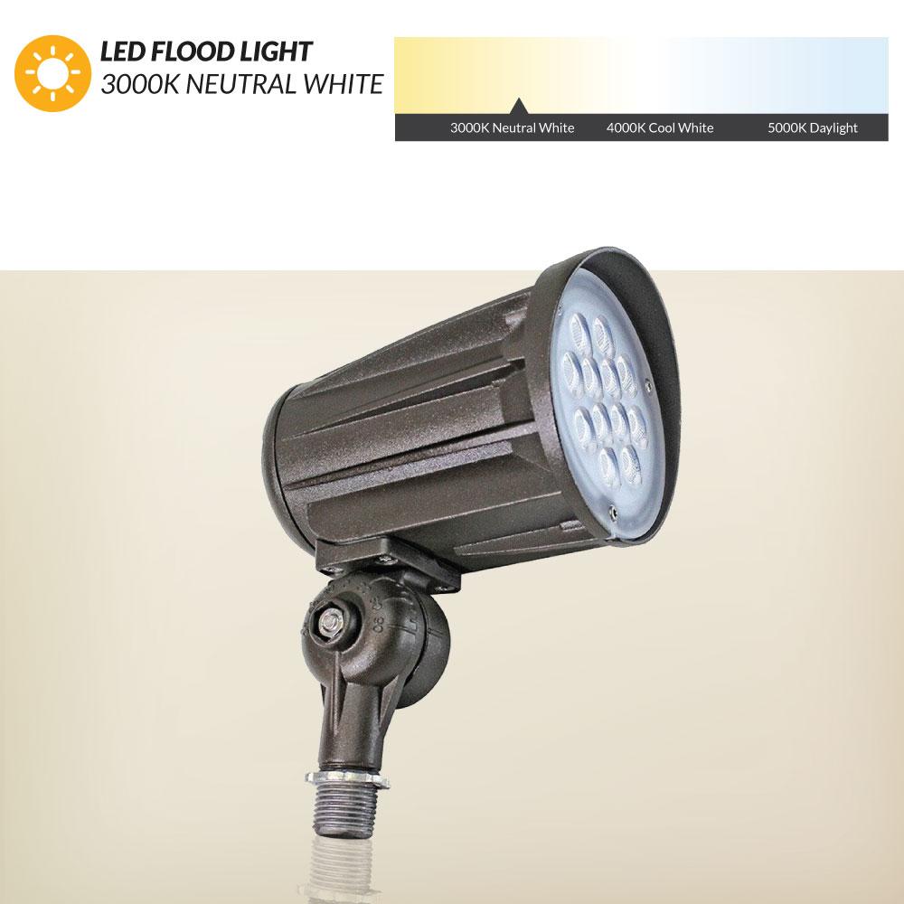 "28 Watt LED Landscape Bullet Flood Light Series 2, 2800Lumens, 1/2"" Knuckle mount, 3000K Warm White Color Temperature"