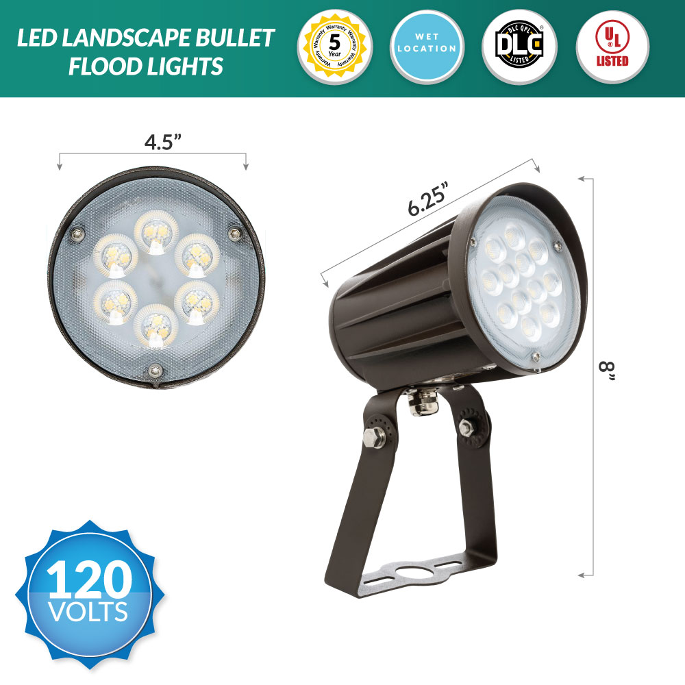 42 Watt LED Landscape Bullet Flood Light Series 2, 4200Lumens, Trunnion mount, 3000K Warm White Color Temperature