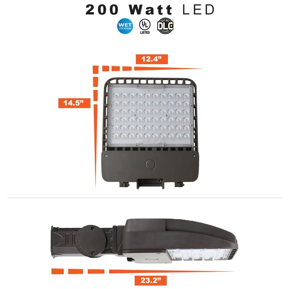 200 Watt LED Parking Lot Light 5000K Color Temperature with Slipfitter