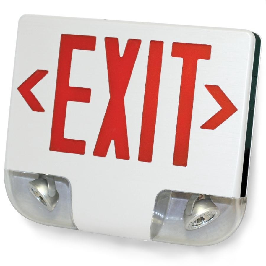 Standard Die-Cast Aluminum LED Exit Sign & Emergency Combo - Red Lettering Color with White Housing Color - With 90 Minute Battery Back-Up