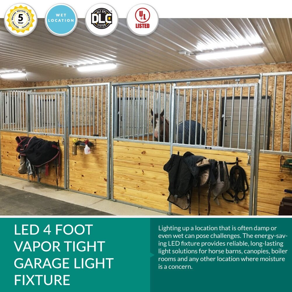 LED Waterproof Vapor Tight Light for Carports, Parking Garages and Wet Locations - 40 Watt 4800 Lumens - 4 Foot - 4000K Cool White