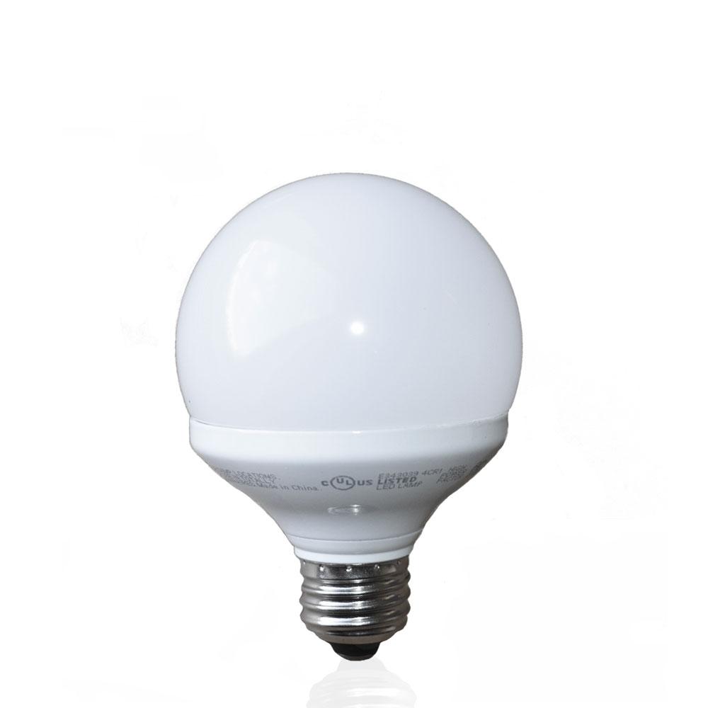 8 Watt LED G25 Globe Bulbs, 2700K Warm White