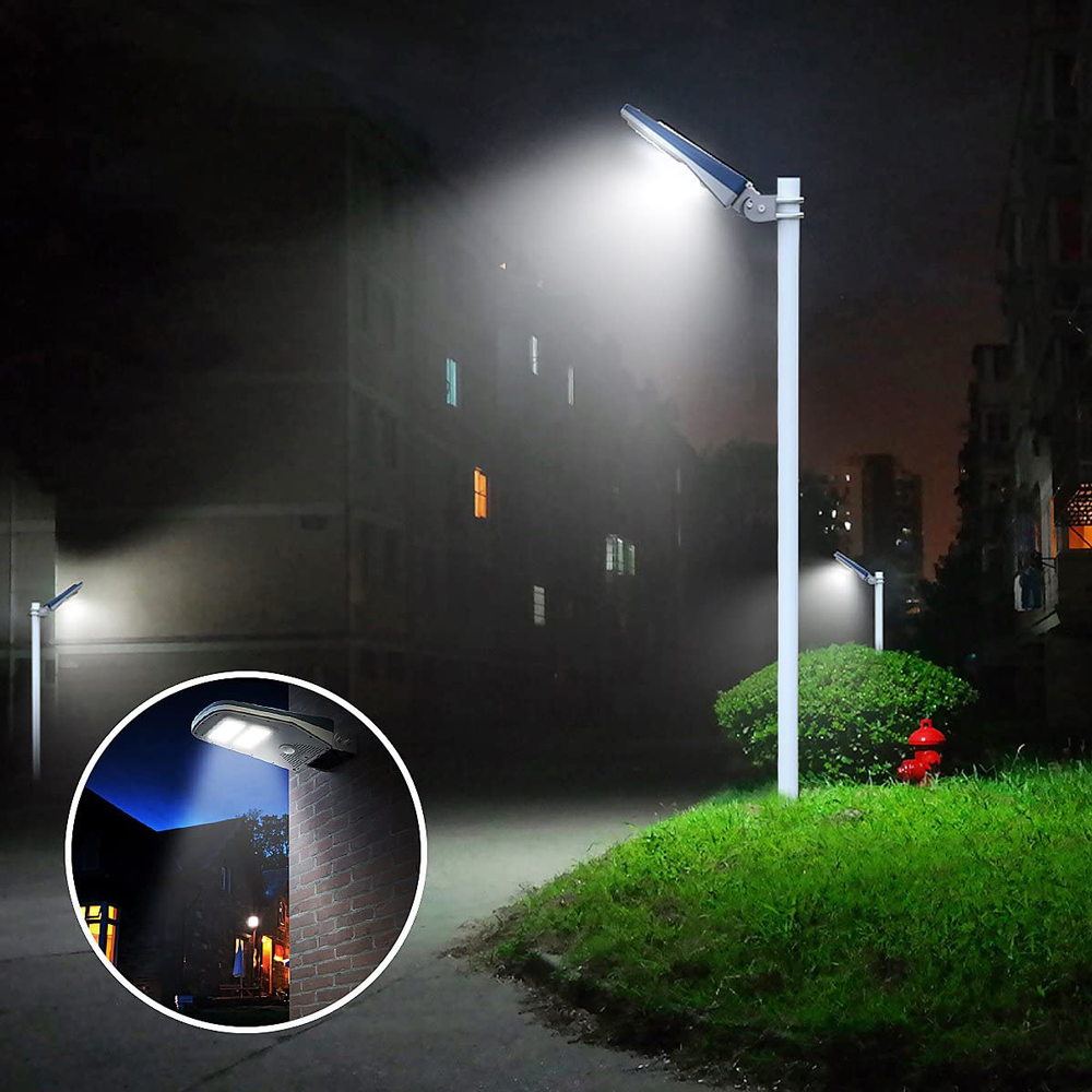 LED Solar Powered Commercial Street Lamp Post - 54 Watt Square Pole Mount 5000K Daylight