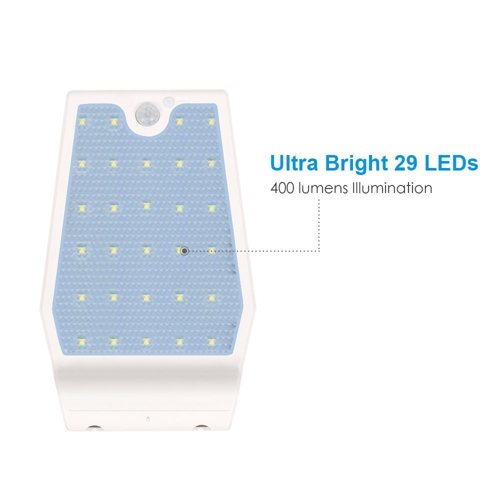 Mini LED Solar Wall Light - Emits Equivalent of 40W Light Bulb - Daylight White
