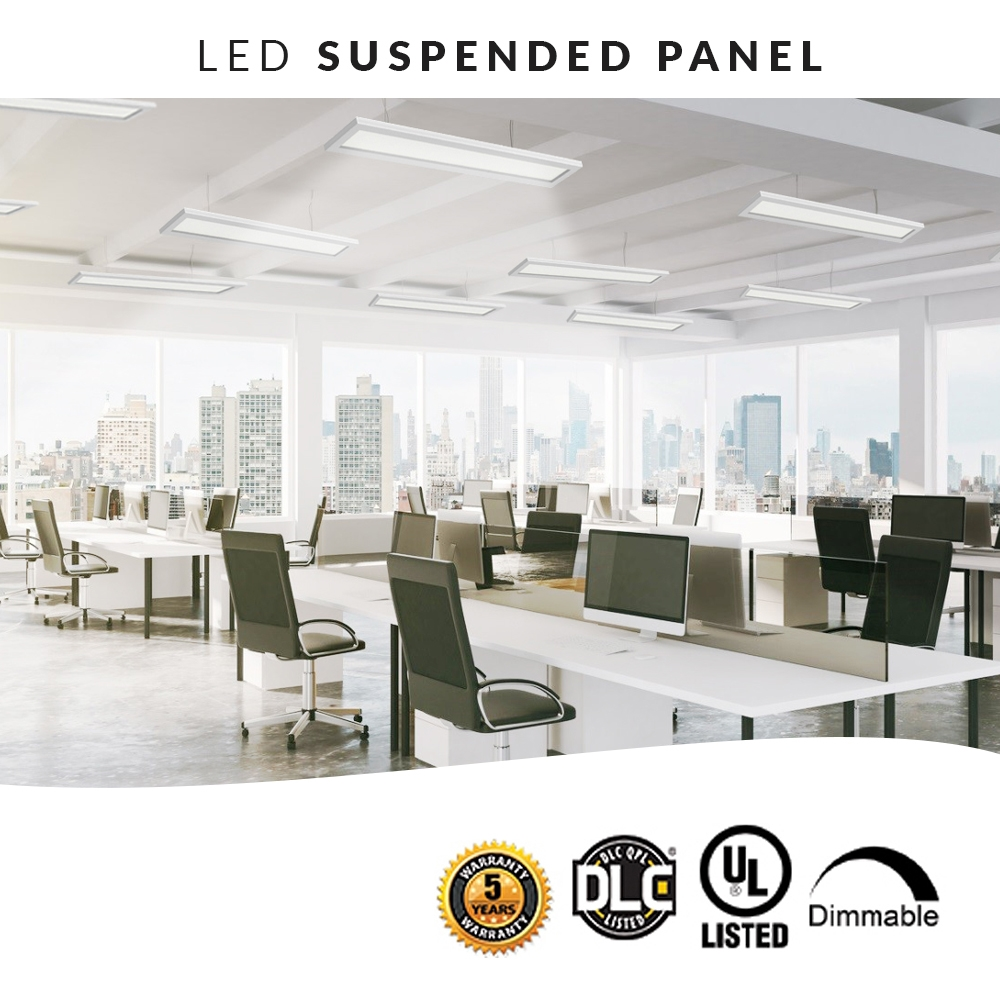 LED Up Down Flat Panel Light - Direct/Indirect Suspended Office Lights - 4FT 40W
