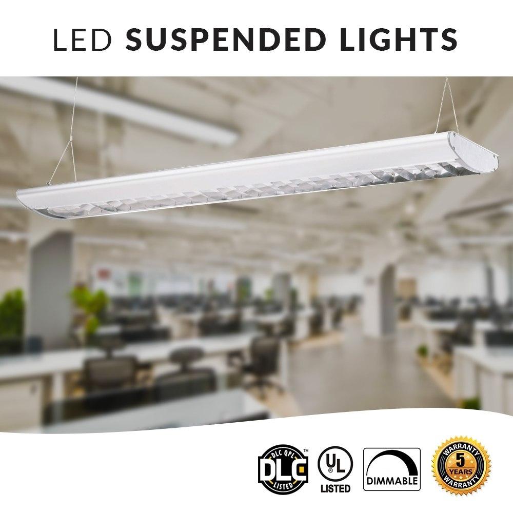 LED Suspended Office Lighting Fixtures, 40 Watt Downlight, w/Parabolic Lens, 3500K Neutral White