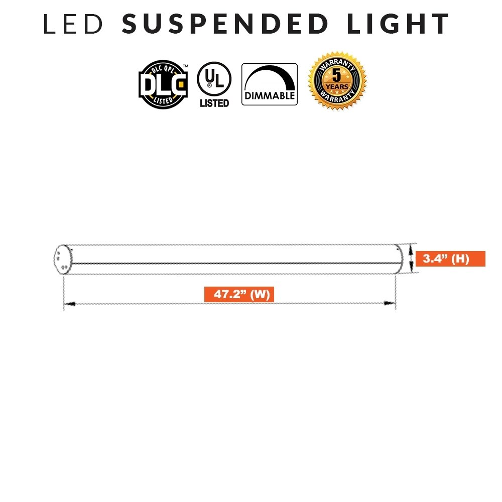 LED Round Suspended Office Lights - 4ft 40W 5000K Daylight