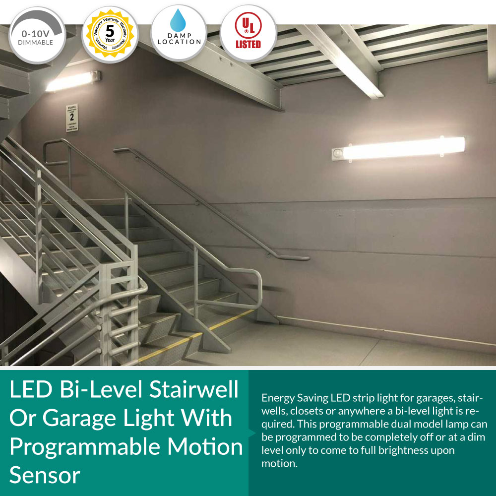 4-Foot Stairwell or Garage Light with Programmable Bi-Level Motion Sensor - High Lumen 25 Watt  4000K Cool White