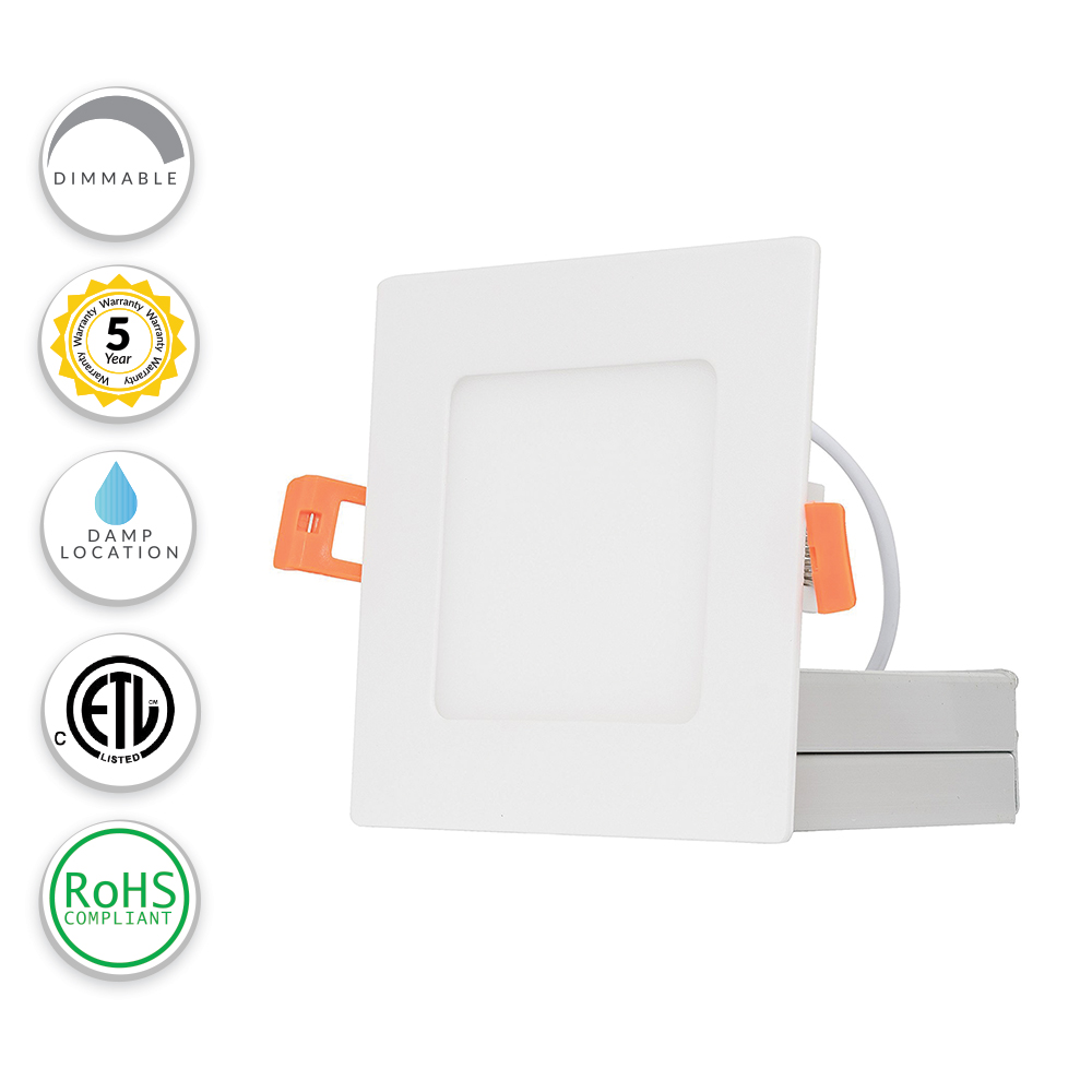 LED Direct Wire Edge-Lit Square Downlight No Recessed Can Required