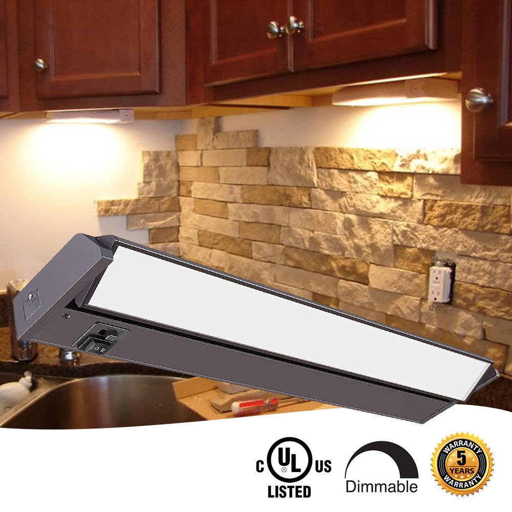 24 inch LED Undercabinet Light - 12 Watt, Bronze, with swivel lens, changeable color temperature and hi-low switch
