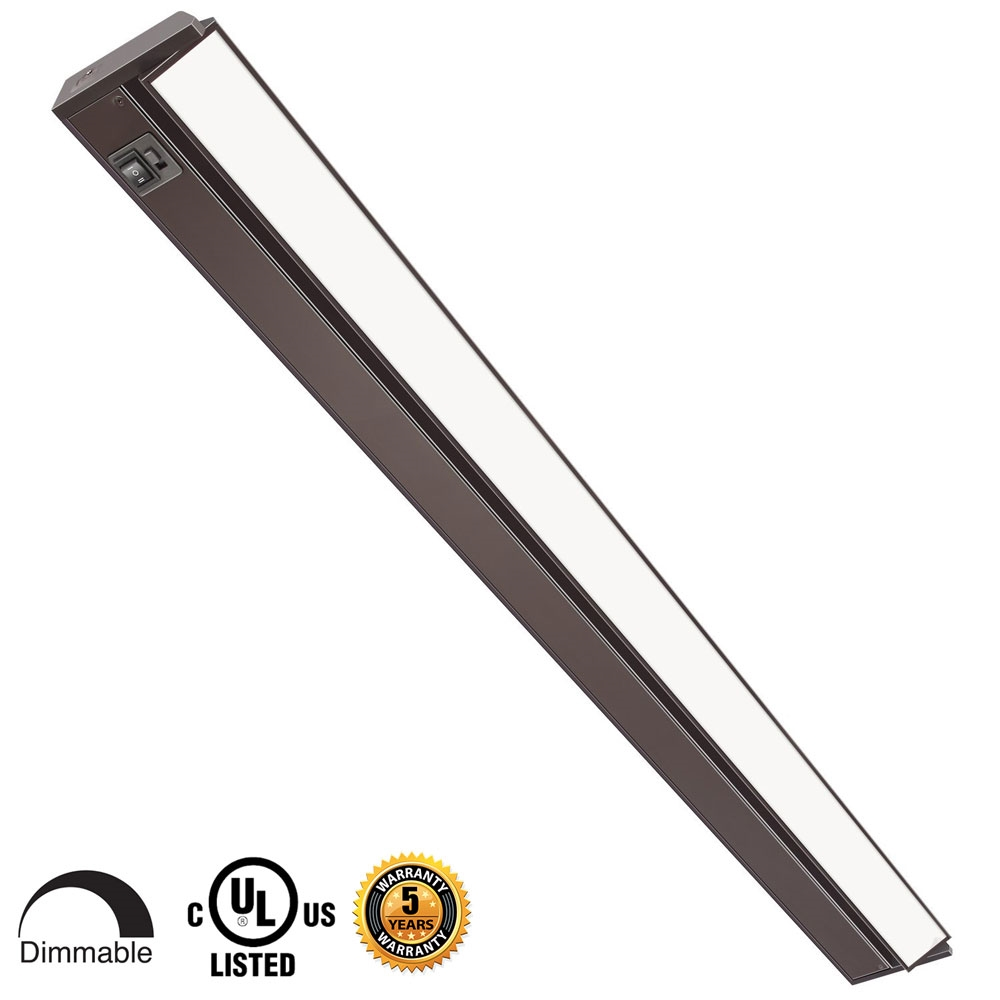 42 inch LED Undercabinet Light - 20 Watt, Bronze, with swivel lens, changeable color temperature and hi-low switch