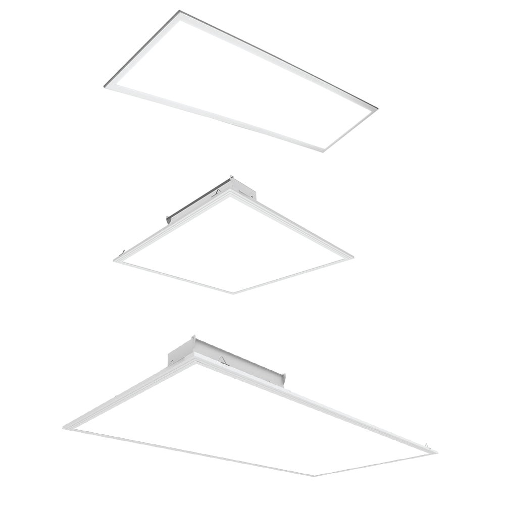 Led drop ceiling flat panel light fixtures choose your size color and optional mounting