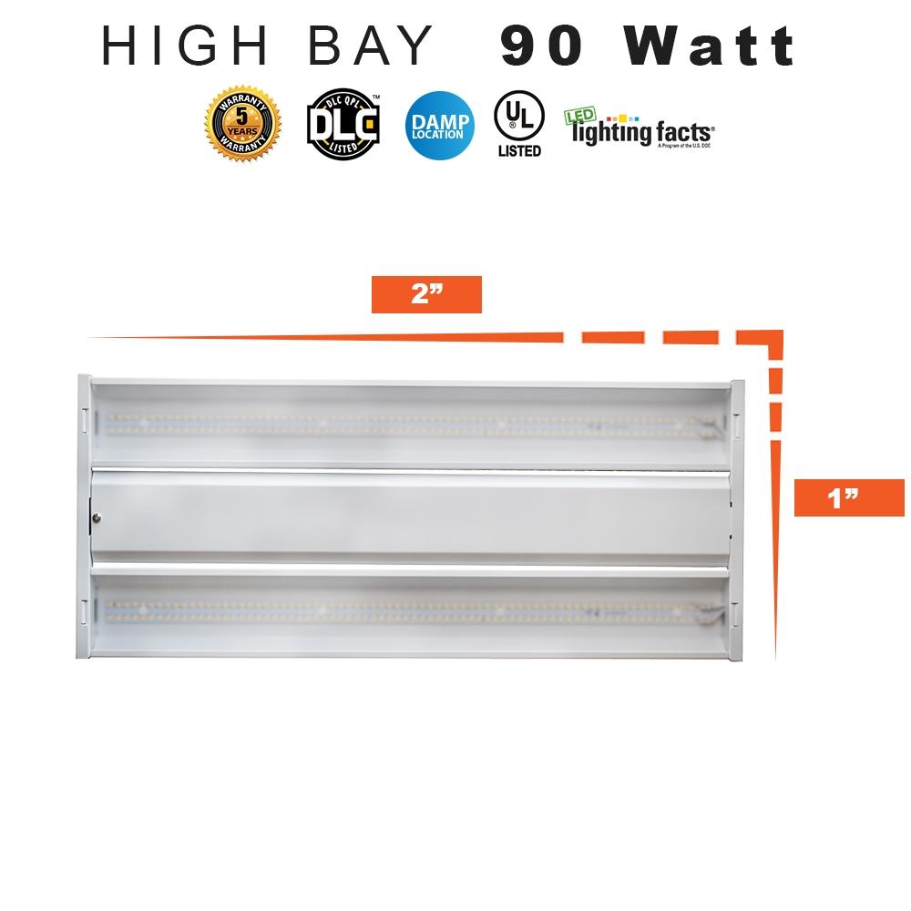 LED Shop Light High Bay With Emergency Battery (90 minute - 900 Lumen), 1' x 2' - 90 Watt, 12,000 Lumens, equivalent to 175W Metal Halide