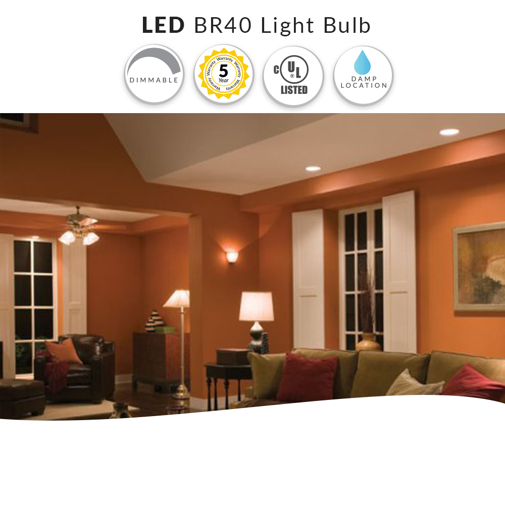 LED BR40 Light Bulb, Dimmable - 14 Watt = 85W Replacement - Warm White 2700K - 120 Volt