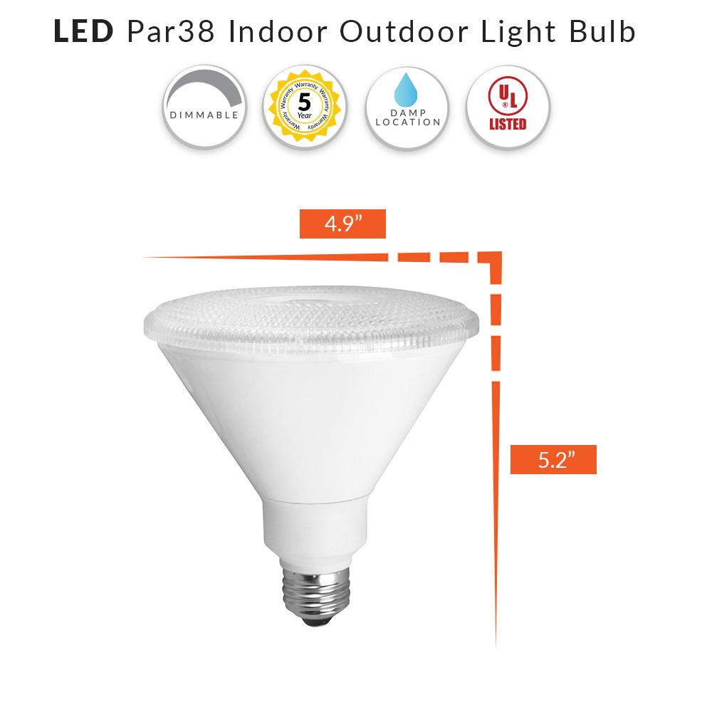 LED PAR38 Bulb Flood Light - 100W Equiv - Choose Your Color Temperature