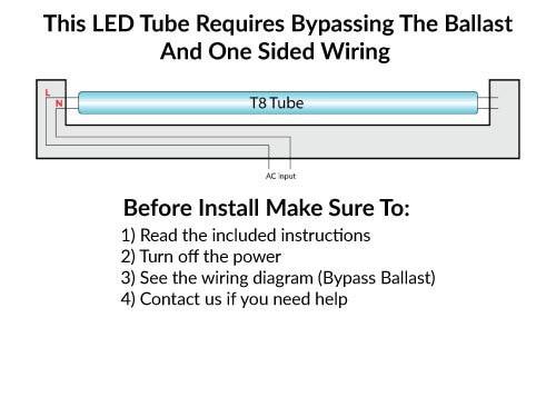 t8 led bulbs 5000k daylight ballast bypass tubes 13 watt  1700 lumens   one sided direct wire  4 ft