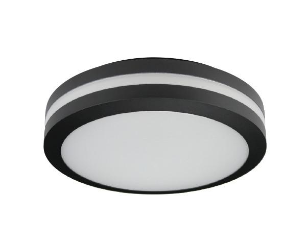 Motion Sensor LED Bulkhead Light - Ceiling or Wall Mount - Outdoor Wet  Location UL Listed - 14 Watt - 1350 Lumens - 3000K - With Black Finish
