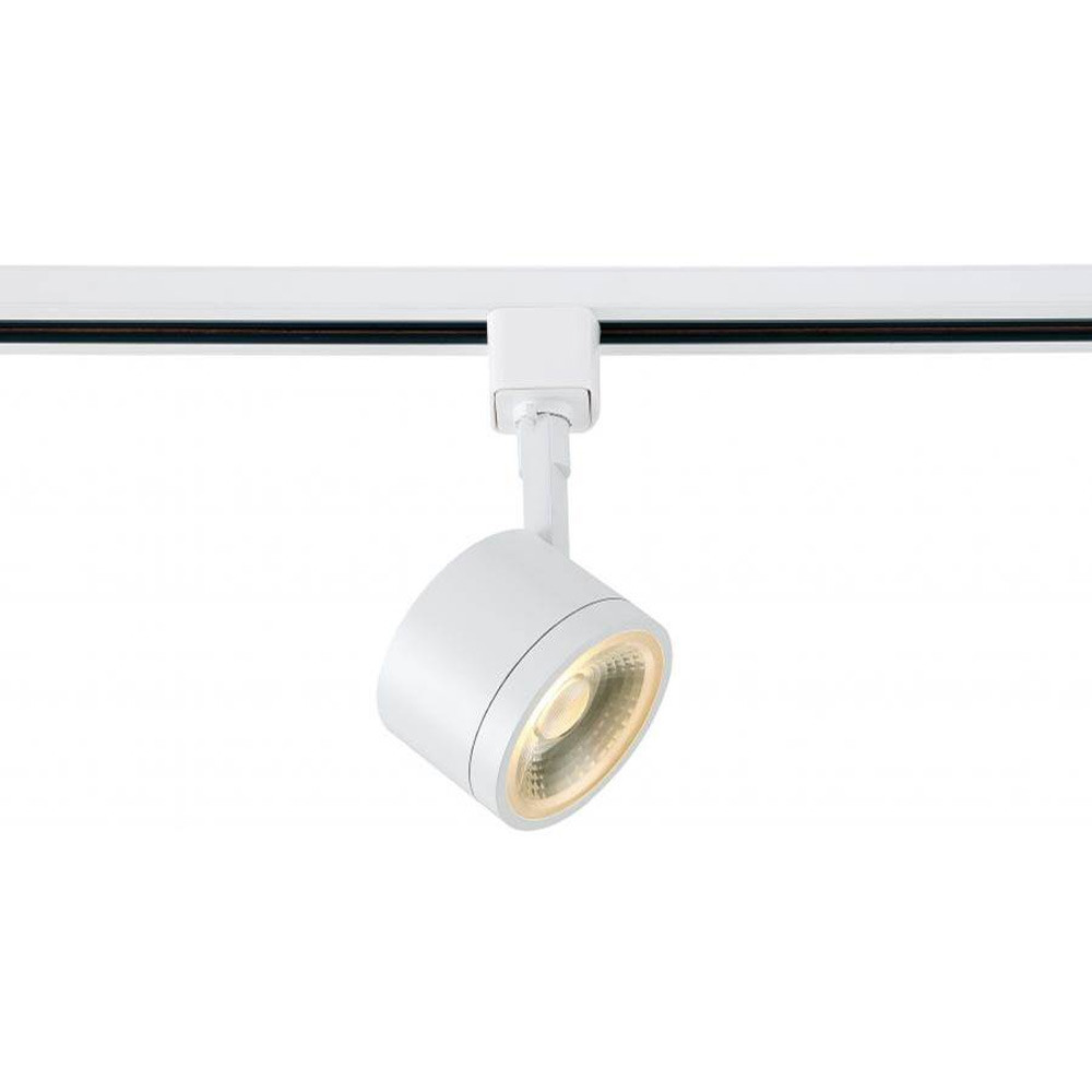 Low profile led track lighting fixture with round head white finish 24o beam 12 watt 820 lumens 3000k soft white color temperature