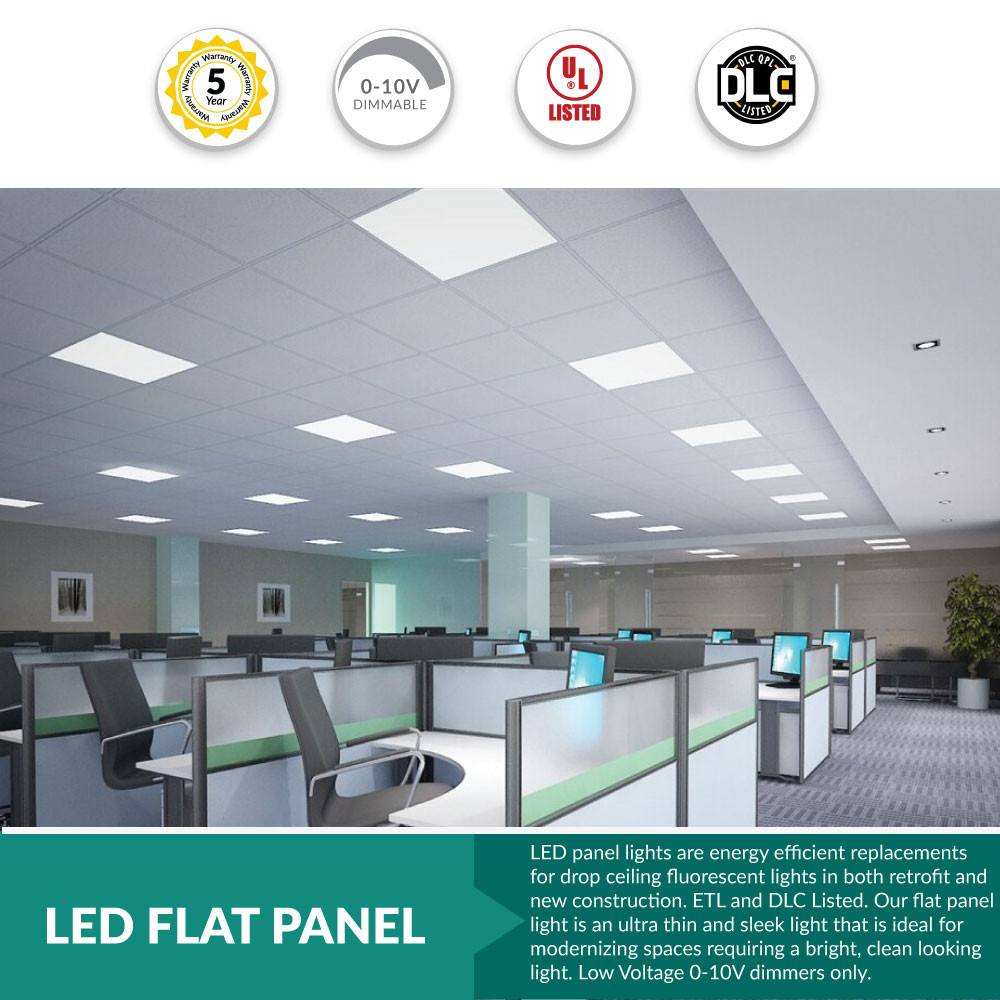 Led Flat Panel 2x2 4000k Cool White Dimmable With Extra Recessed Sheet Rock Kit