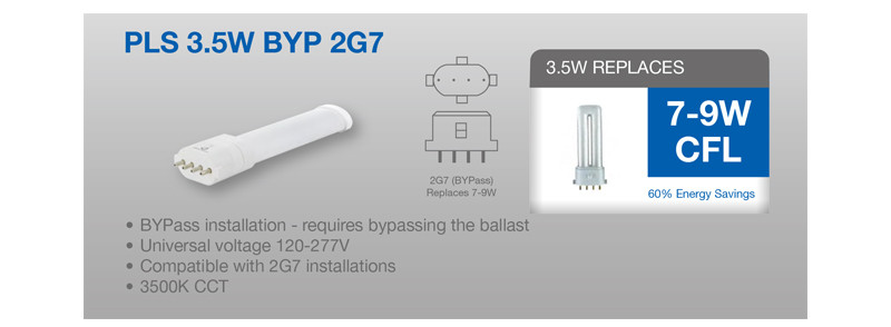 2G7 LED PL Retrofit Lamp for 4 Pin CFL Bulbs - Replaces 7-9 Watt- 2G7  Pin W Ballast Wiring Diagram on