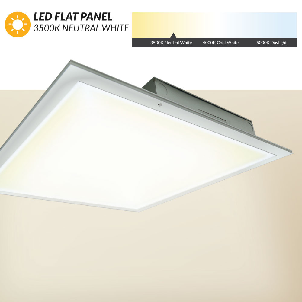 Led Flat Panel 2x2 3500k Neutral White Dimmable For Standard Drop Ceilings