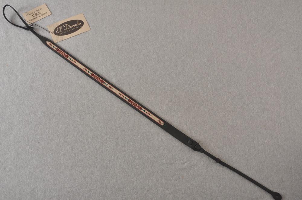 Leather Mandolin Strap - Black - El Dorado Kachina - Fits F & A - View 3