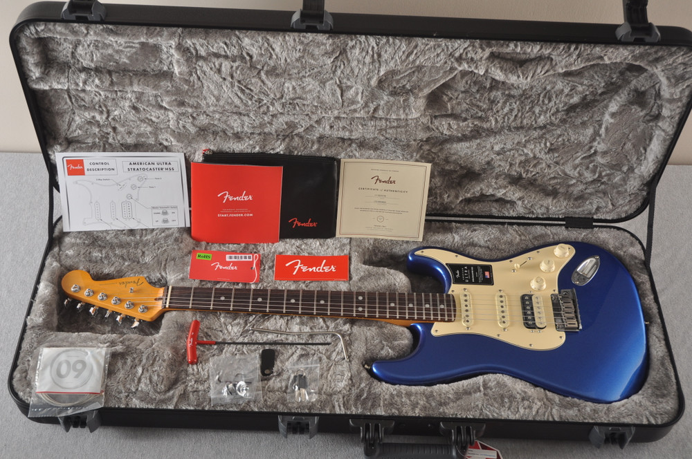 Fender American Ultra Stratocaster HSS Guitar - Cobra Blue - View 2