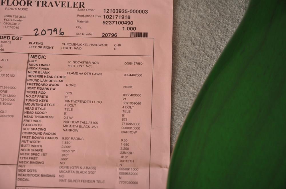 Fender Nocaster Custom Shop 51 NOS Emerald Green 7 lbs 2.3 oz - View 3