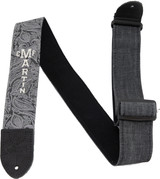 Martin Guitar Strap - Paisley Black Denim - Pick Holder - 18A0109