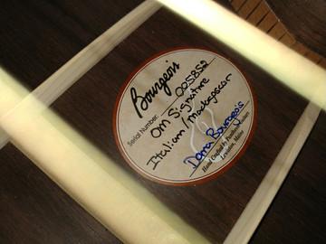 2012 Bourgeois OM DB Signature Italian Spruce Madagascar Rosewood #5852 - Label