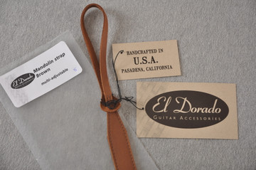 Mandolin Strap - Brown Leather - El Dorado - Made in USA - View 3