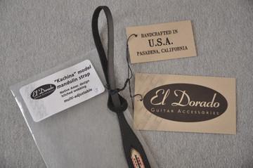 Leather Mandolin Strap - Black - El Dorado Kachina - Fits F & A - View 4
