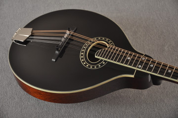Eastman MD404 Black Mandolin A Style Oval Hole Solid Spruce Top - View 7