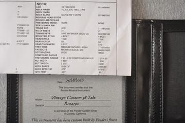 Fender Custom Telecaster Vintage 1958 Top Load Tele White Blonde - View 2