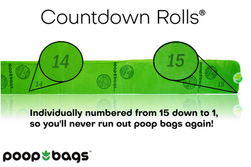 As you can see, each roll of 15 poop bags is numbered from 15 down to 1.