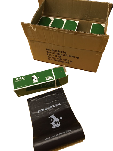 Each master carton contains 10 boxes of rolled poop bags.  Each large, single roll contains 200 poop bags, for a total of 2,000 commercial poop bags per case.