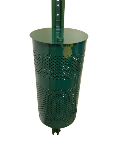 Non-locking lid with hinge to keep lid secure  Mesh receptacle allows for water to escape and not pool with debris