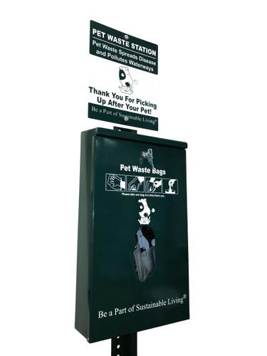 Dog waste station front and sign card
