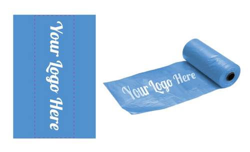"""Your Logo Here"" on custom poop bags"