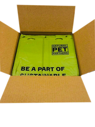 Natural Pet Partners® Commercial Compostable Bulk Flat Header Pull-Strap Waste Bags