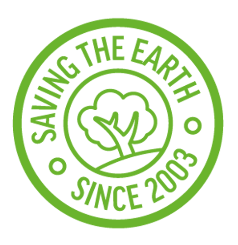 Saving the Earth since 2003 stylized logo
