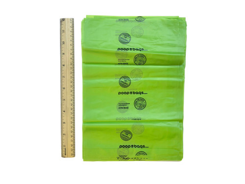 The Original Poop Bags® are still made in the USA, and primarily made with plant matter.  They are ASTMD6400 certified, which means they are ideal for a commercial composting facility.  The Original Poop Bags® come as 50 individual poop bags, not on a roll, not on a header card, just separated as individual bags.  When ordering online, these do not include retail packages, just the bags themselves helping to reduce waste and cost.  When buying at retail, the bags dispense in a tissue style box.