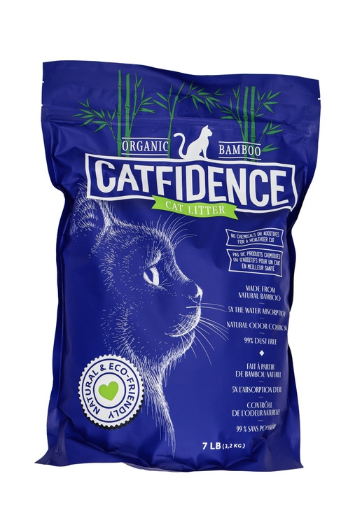 Catfidence eco-friendly bamboo cat litter from The Original Poop Bags.  USDA Certified Biobased.