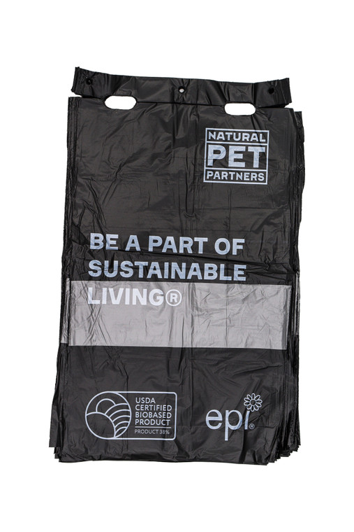 Pull-strap pet waste bags