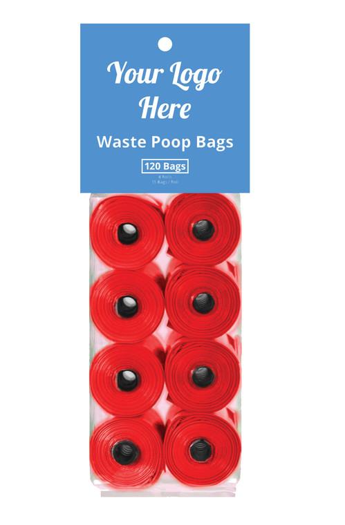 Package of 8 rolls of custom poop bags
