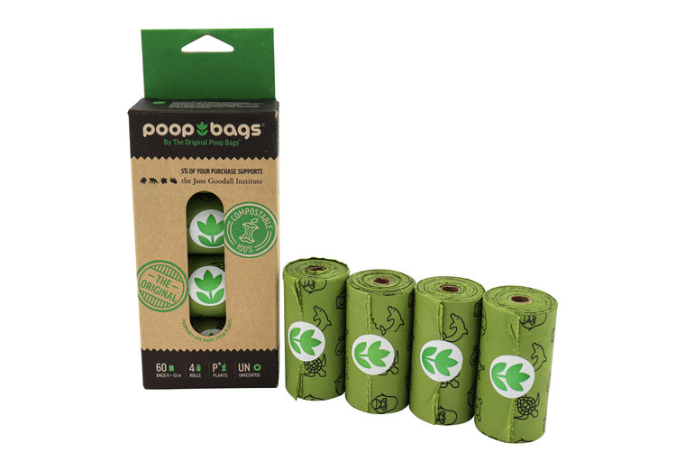 The Original Poop Bags®  4 roll pack of  100% compostable poop bags supports the Jane Goodall Institute in its efforts to conserve the world we live in.