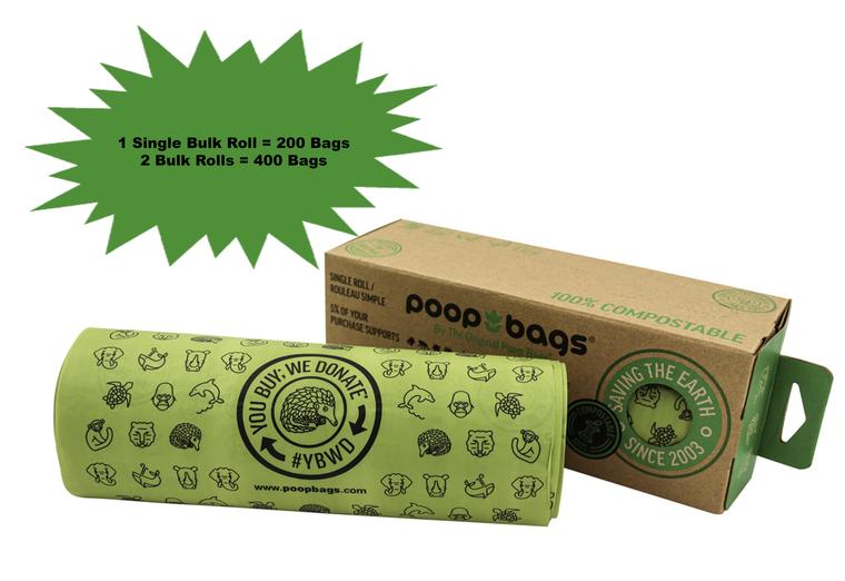 The Original Poop Bags compostable single bulk is one, large roll with 300 compostable poop bags on it.