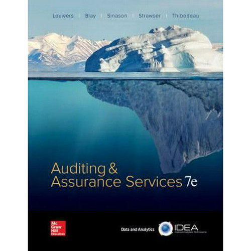 Auditing & Assurance Services (7th Edition) Timothy J Louwers and Allen Blay | 9781260152166